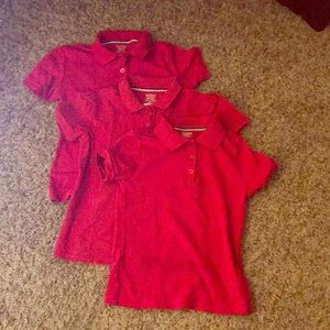 3 pk Red Girls Polo